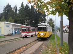 Historischer Zug 56-82-101, Tw 314, Hst. Tabarz, 20.09.2014, (c) D. Kirchberger