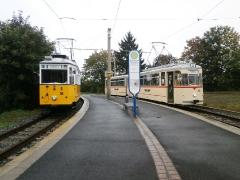 Historischer Zug 56-82-101  und Tw 215, Waltershausen-Gleisdreick, 21.09.2014, (c) Schneider