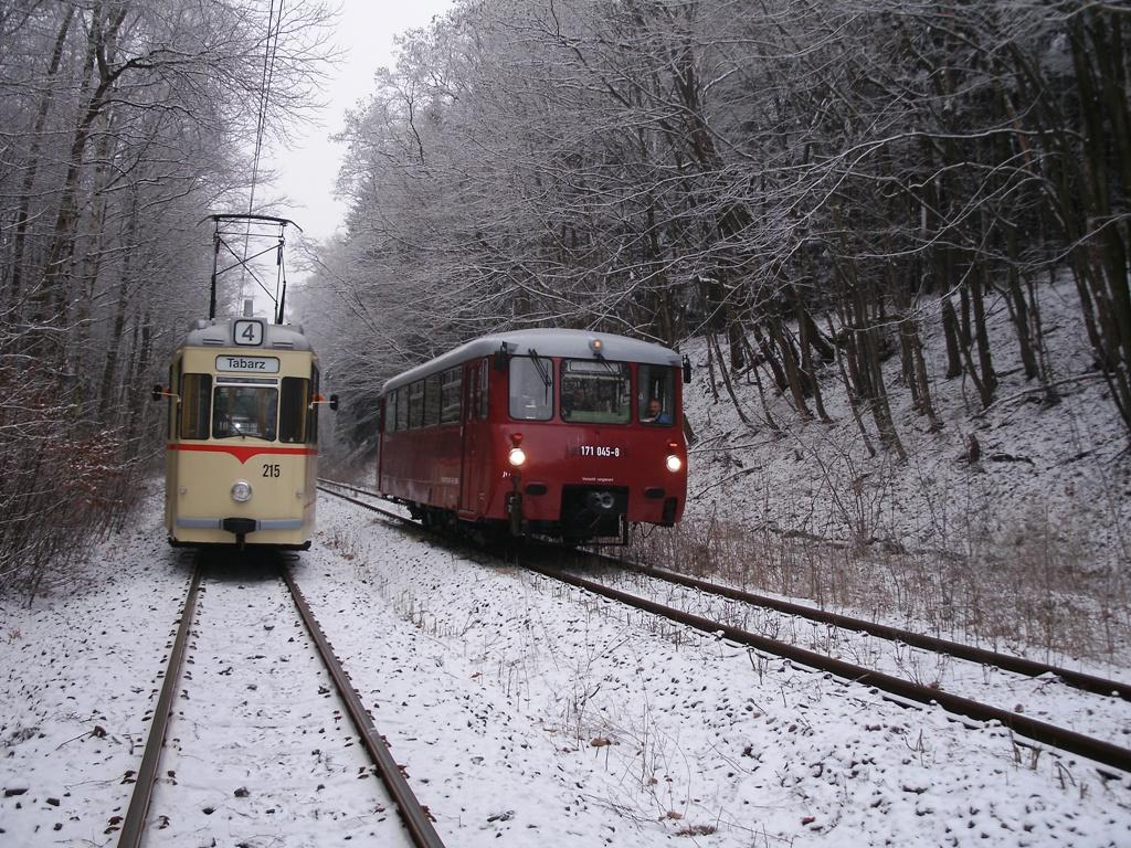 Tw 215 und 772 345 (EBS), bei Reinhardsbrunn Bf., 25.01.2014 (C) Schneider