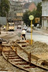 Tram track repairs in Gotha DDR, ,with Gotha T57 tram nr 46 August 1989.