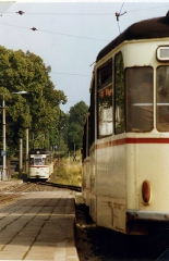 Crossing of Gotha trams, GT4-65 nr 210 at Tabarz Aug 1989.