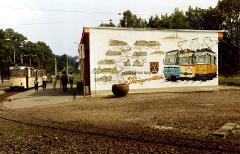 Tabarz DDR August 1989. Thüringerwaldbahn 60th anniversary mural.