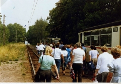 All change on the Thüringerwaldbahn at Boxberg.  Aug 1989.