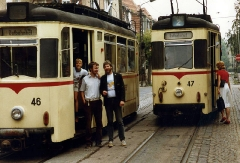 Gotha Tram Drivers in Gotha, DDR. August 1989.