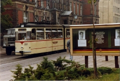 Strassenbahn Gotha,Thüringen. Gotha G4-65 tram no 207 at Gotha Post Office, Aug 1989