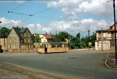 Triebwagen 47 auf der 1985 stillgelegten Linie 3. Hier in der Mohrenstraße. (7. Juli 1974)