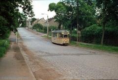 Triebwagen 47 in der Langensalzaer Straße. (7. Juli 1974)