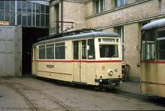 Triebwagen 42 ebenfalls auf dem Betriebshof. (7. Juli 1974)
