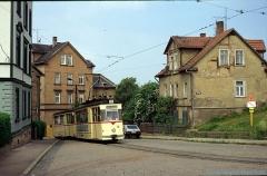 Triebwagen 36 mit Beiwagen 71 am Nelkenberg. (4. Juli 1991)
