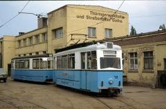 Triebwagen 38 mit Beiwagen 94 auf dem Betriebshof. (4. Juli 1991)