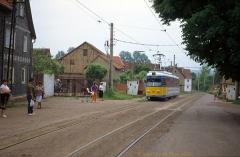 Triebwagen 396 als Thüringerwaldbahn Linie 4 in Sundhausen. (4. Juli 1991)