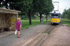 Triebwagen 396 Die 'Mannemer' waren erst seit kurzer Zeit in Gotha. Hier an der Hst. Wahlwinkel. (4. Juli 1991)