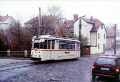 Triebwagen 47 (Waggonbau Gotha, ET57) am 13.04.2002 auf dem Weg zum Ostbahnhof.
