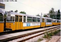 Triebwagen 214 ebenfalls im Depot Wagenhalle. (7. August 1997)