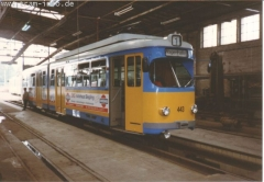 Triebwagen 443 in der Wagenhalle. (7. August 1997)