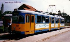 Triebwagen 502 an der Haltestelle Huttenstraße. (7. August 1997)