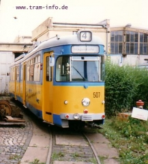 Triebwagen 507 im Depot. (7. August 1997)