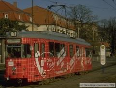 Triebwagen 590, Gotha 590 - GT6, Aufnahmeort: Hauptbahnhof, Hersteller: DUEWAG/Siemens, 1958 (1995 ex Bochum 290), (26.02.2000)