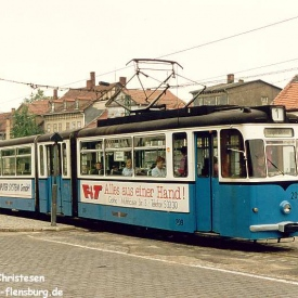 Triebwagen 209 an der Haltestelle Huttenstraße. (06. Juli 1992)