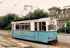 Triebwagen 38 am Hauptbahnhof. (06. Juli 1992)