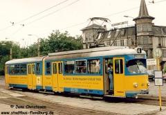 Triebwagen 401 Ein DÜWAG-TW am Bahnhof. (06. Juli 1992)