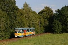 Triebwagen 306 auf dem Weg zur Endhaltestelle Tabarz. (September 2004)