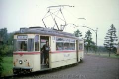 Tw 47, ET57 Gotha 1963, Linie: 4, Waltershausen Gleisdreieck. (10.1967, Earl W. Clark, Jr. Photo)