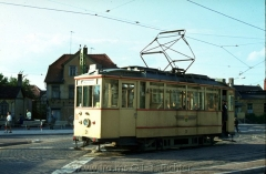 Tw 31, Gotha 1937, Linie: 2, Richtung: WAGENHALLE am Arnoldiplatz. (14.8.1968, Ron Copson Photo)