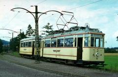 Tw 50, Gotha 1929, Linie: 4, Richtung: WALTERSHAUSEN, mit Bw 81 am Gleisdreieck. (14.8.1968, Ron Copson Photo)
