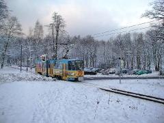 Triebwagen 306 bei Reinhardsbrunn. (28. Dezember 2004)