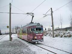 Triebwagen 396 am Gleisdreieck Waltershausen. (28. Dezember 2004)