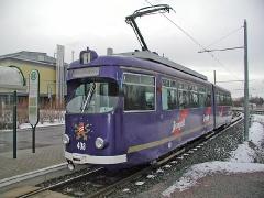 Triebwagen 408 am Kreiskrankenhaus. (28. Dezember 2004)