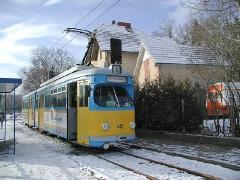 Triebwagen 442 am Haltepunkt Waltershausen-Schnepfenthal. (28. Dezember 2004)