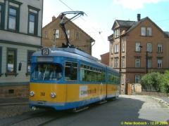 Triebwagen 318 am Nelkenberg. (12.9.2004)