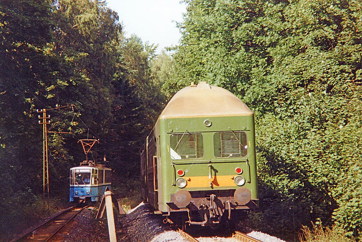 Das klassische Foto der Thüringerwaldbahn durfte nicht fehlen. Ein Doppelstockwendezug trifft den Tatra 303. im Wald