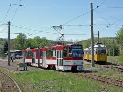 TW 311 (CKD 1990) ex Erfurt 548 verlässt das Gleisdreieck in Richtung Gotha