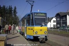 Triebwagen 301 auf dem Weg zum Hauptbahnhof. (10. April 2002)