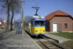Triebwagen 318, ein Ex-Mannheimer GT6ER von DUEWAG. (10. April 2002)