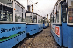 Betriebshof. Fahrzeuge des Stadtverkehrs. (Dezember 1991)