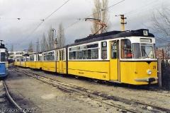Betriebshof. Fahrzeuge der Waldbahn. Vorne Tw 214. (Dezember 1991)