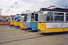 Betriebshof. Frontenparade an der Wagenhalle. (zwischen 1991 und 1994)