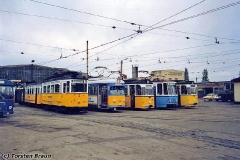 Betriebshof. Fahrzeugparade vor der Wagenhalle. (zwischen 1991 und 1994)