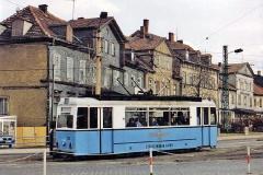 Triebwagen 38 unmittelbar vor der Hst. Huttenstraße (zwischen 1991 und 1994)