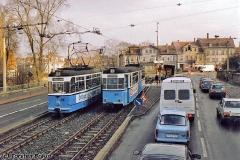 Triebwagen 201 und 205 am Ende der Gartenstraße. (zwischen 1991 und 1994)