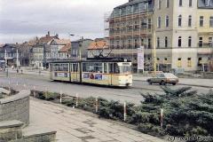 Triebwagen 204 am Arnoldiplatz. (Januar 1992)