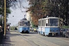 Triebwagen 301 und 302 in der Friedrichstraße. (zwischen 1991 und 1994)