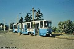 Triebwagen 302 am Gleisdreieck Waltershausen. (Oktober 1991)