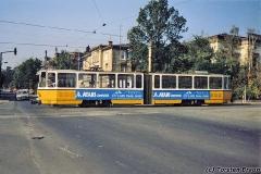 Triebwagen 304 überquert die Bebelstraße Richtung Hauptbahnhof. (Oktober 1991)