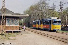Triebwagen 442 an der Hst Boxberg. (zwischen 1991 und 1994)