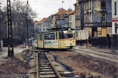 Triebwagen 206 in der Waltershäuser Straße. (Dezember 1991) (c) Heiko Schiefelbein